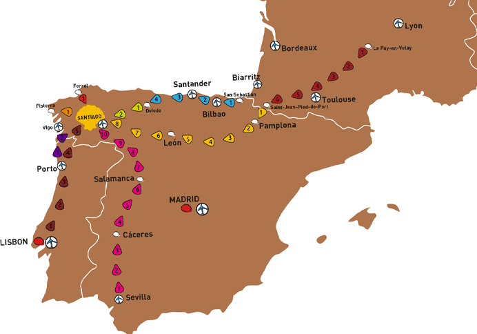 map of the camino de santiago