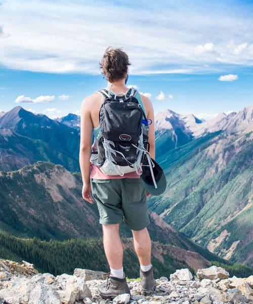 hiker up a mountain
