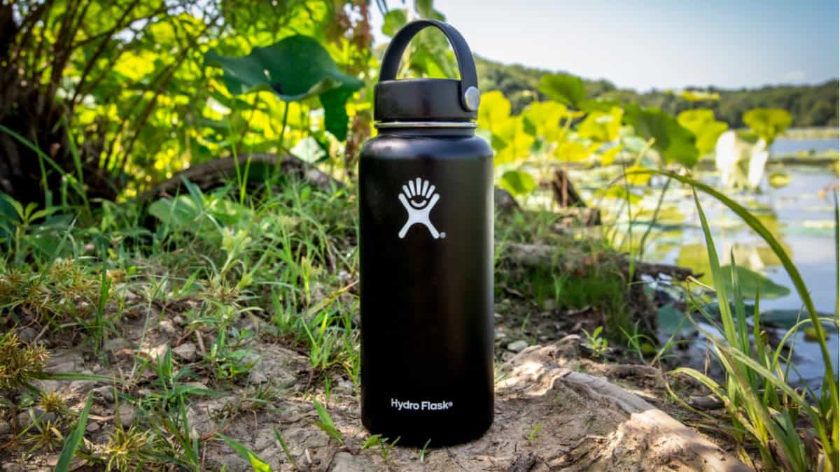 Black Hydro Flask stands in the sun