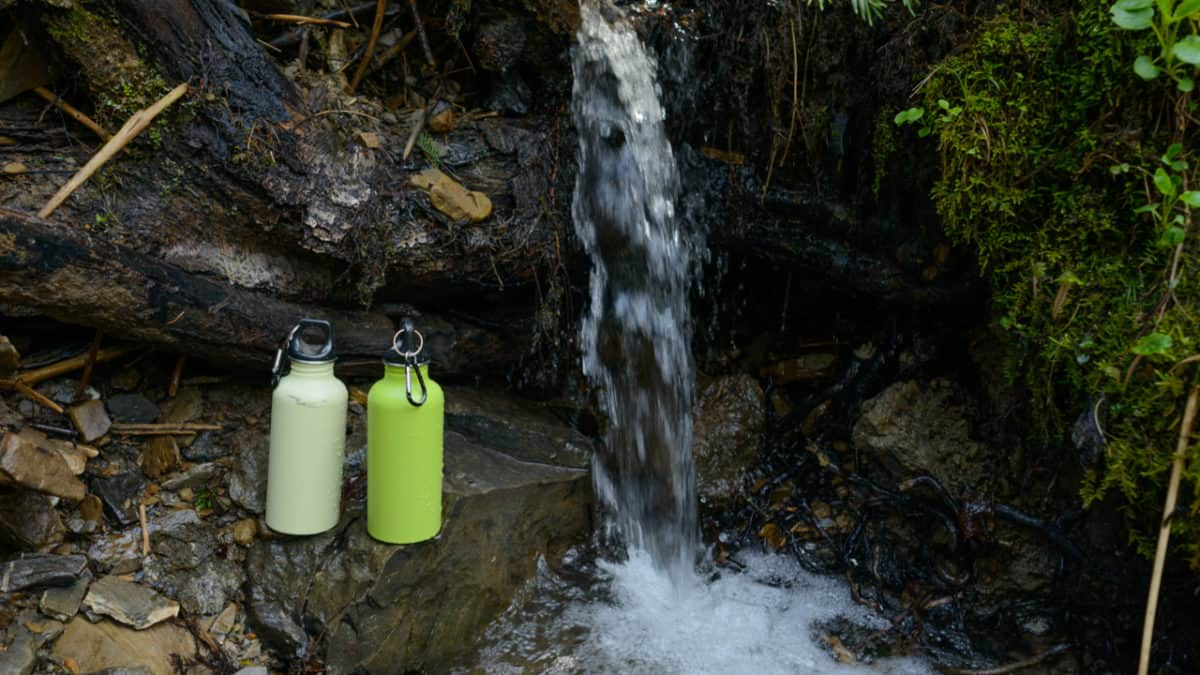 Hydro flask bottles in an outdoor environment