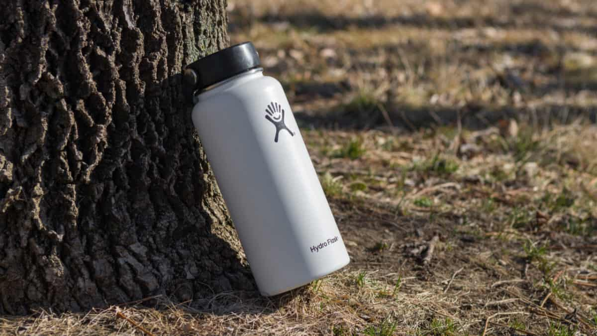 Hydro Flask leaning on a tree