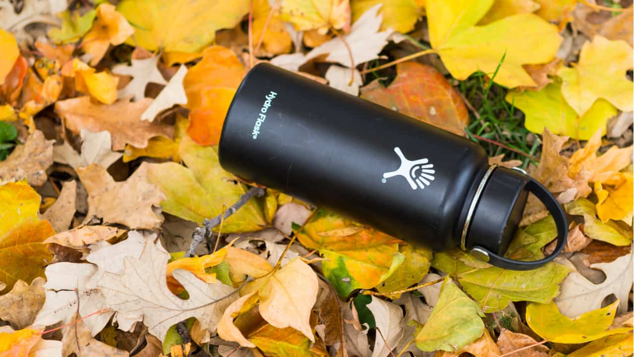 Hydro Flask lies on yellow leaves