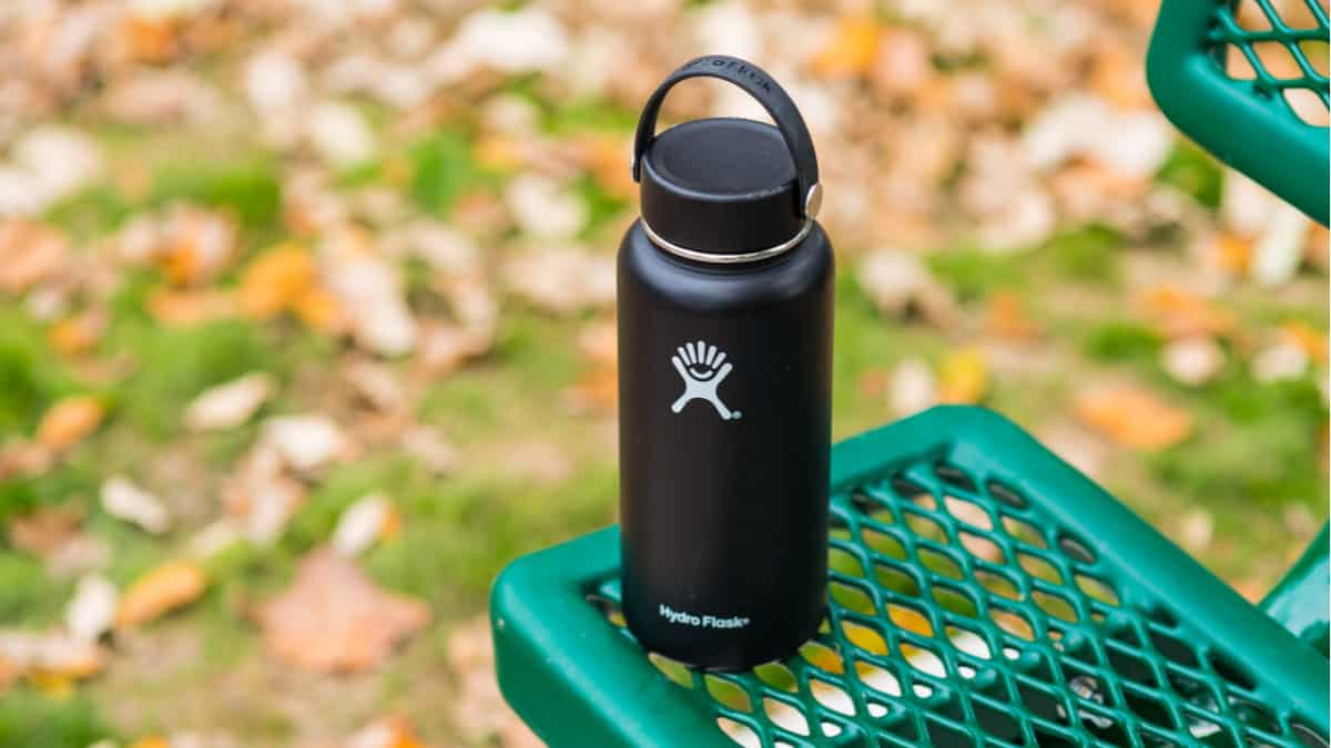 Hydro Flask on a green bench