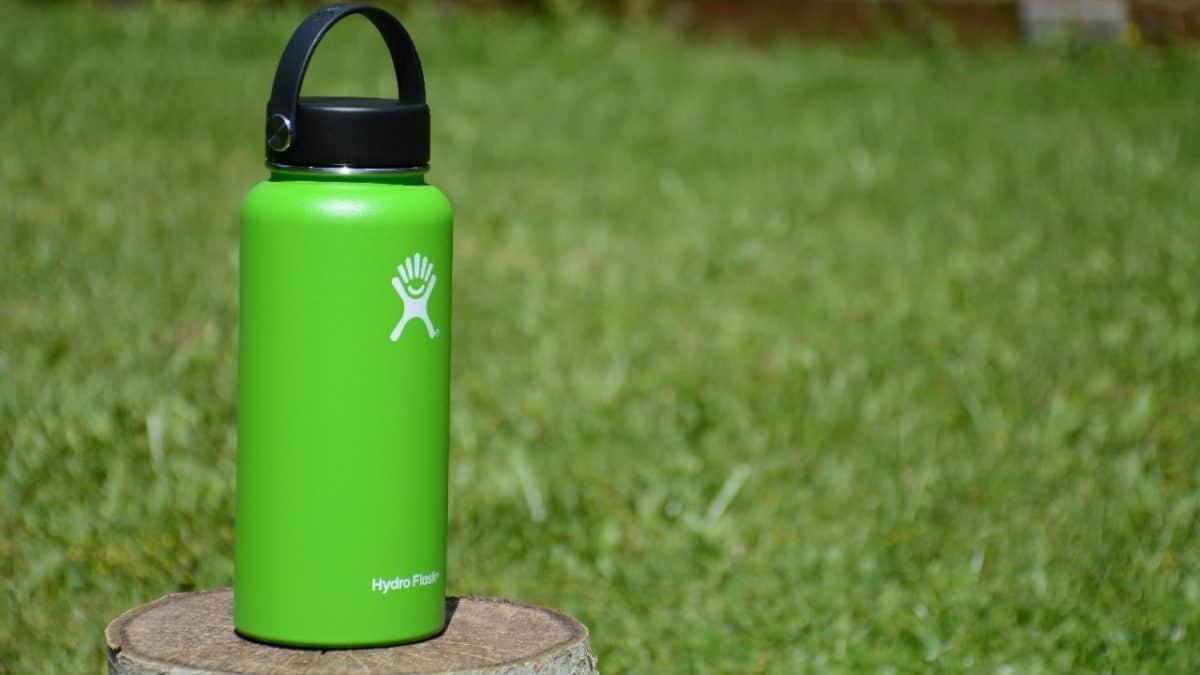 Hydro Flask bottle on a tree stump