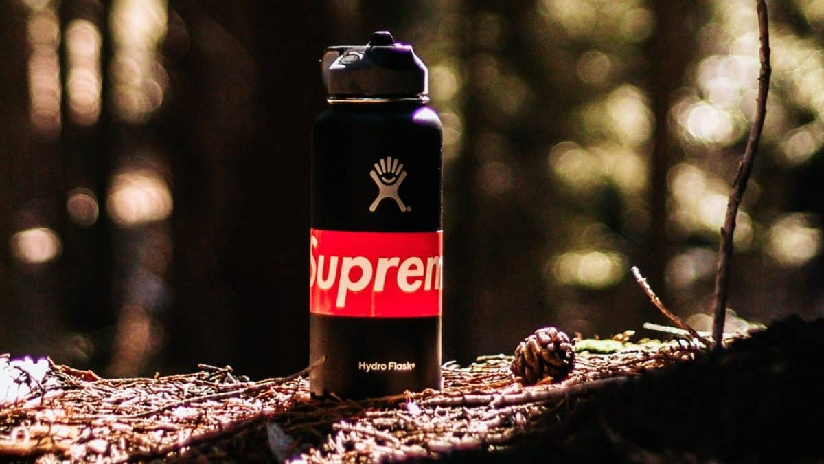 Hydro Flask bottle stands in the sun