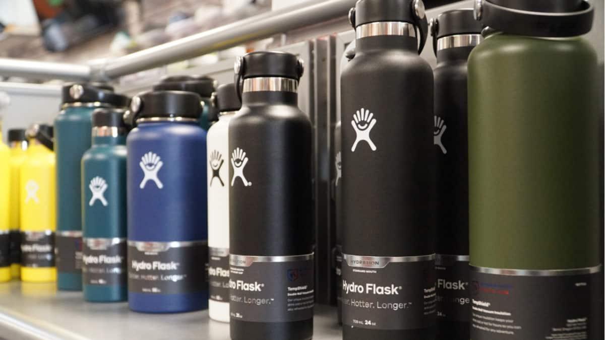 Hydro Flasks on a shelf