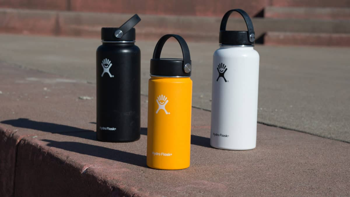 Hydro Flasks standing on concrete