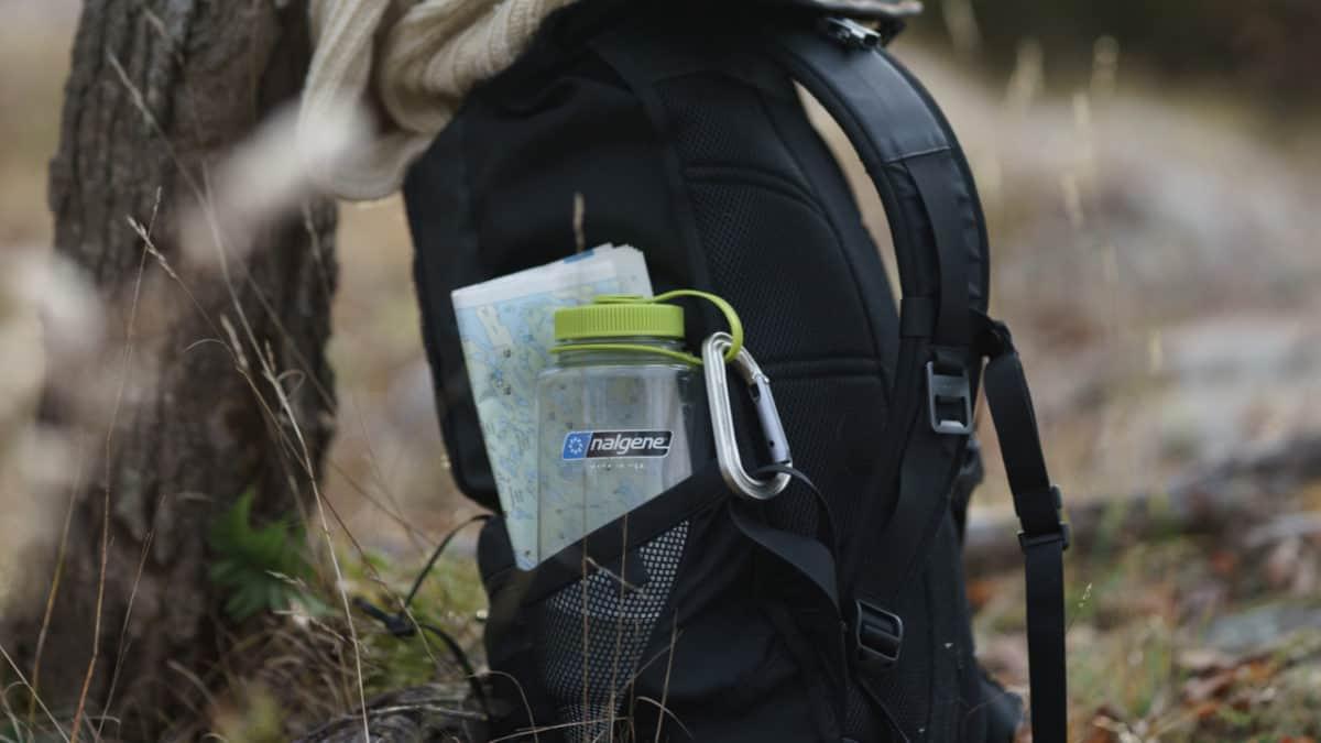 Nalgene bottle in a backpack pocket