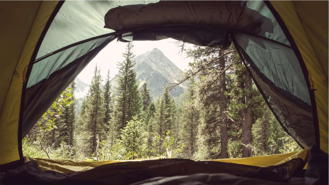 View from a tent cot