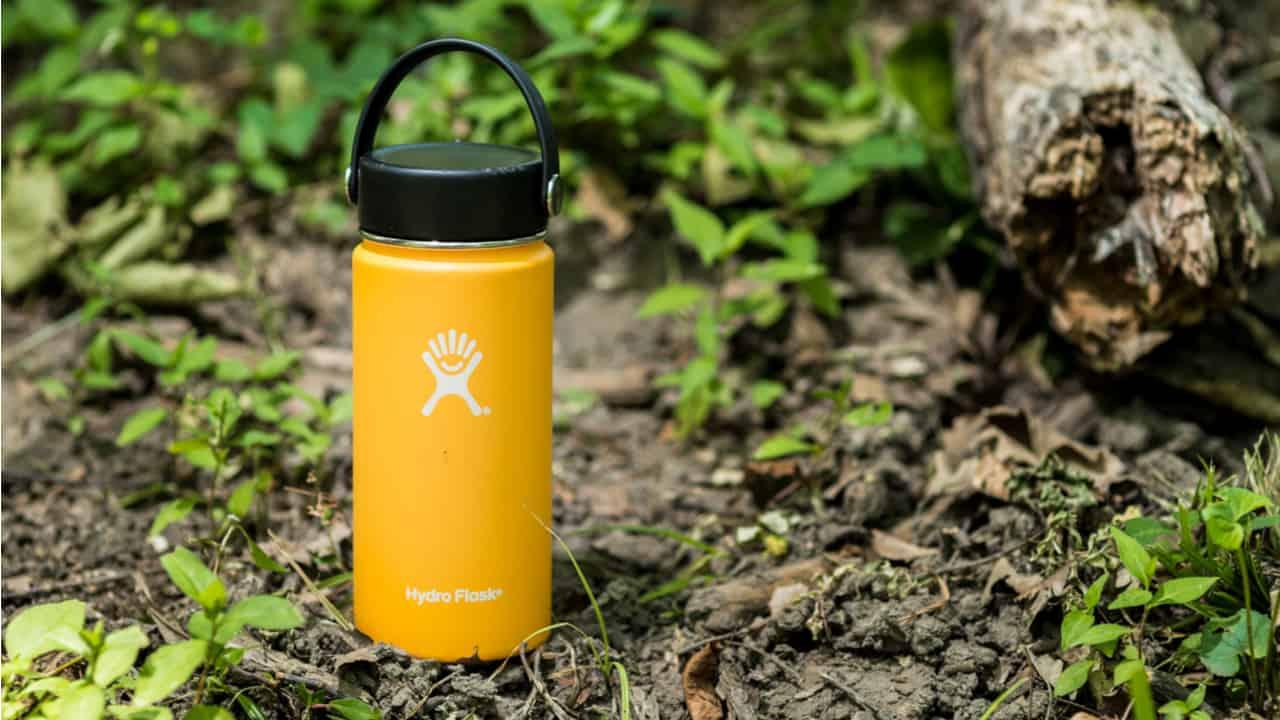 Yellow Hydro Flask bottle